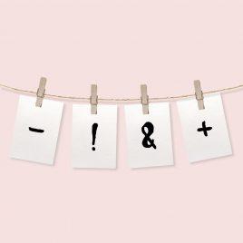 Tekens (lettertype *2) -!?&+